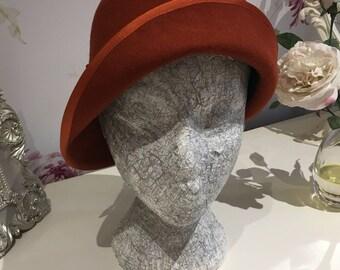 Asymmetric Felt Cloche Hat