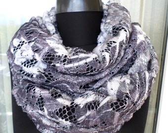 Double sided infinity scarf, Wool infinity scarf, Gray and black infinity scarf, Infinity scarf, Loop scarf, Circle scarf, Fashion scarf