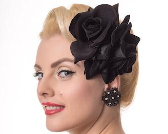 Large Double Black Velvet Rose Pin Up Hair Flower
