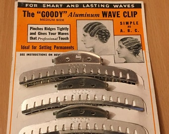 "1930's Vintage Deadstock The ""GOODY"" Aluminium Wave Clips Hair Clips Set of 4 Size Medium 4"""