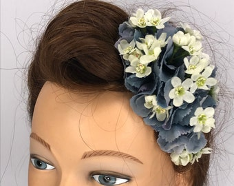 Vintage Style Grey Hydrangea Arrangement Head Piece Pin Up Hair Flower Clip