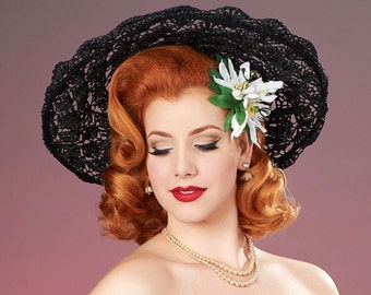 White Double Passion Flower Pin Up Hair Flower Clip