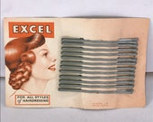 1940s Hair Snoods- Buy, Knit, Crochet or Sew a Snood 1940s Vintage Deadstock New Old Stock EXCEL 12 x 50mm Size Rare GREY Colour Bobby Pins Hair Grips $4.84 AT vintagedancer.com