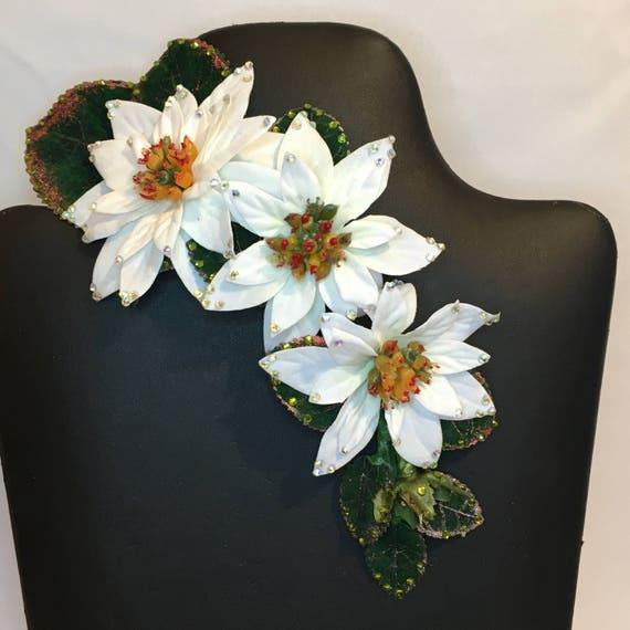 7651906af Winter Hair Flower Swarovski Crystal Edition White Velvet | Etsy