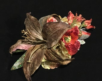Winter Hair Flower Luxury Festive Olive Green Velvet Lily & Rust Arrangement