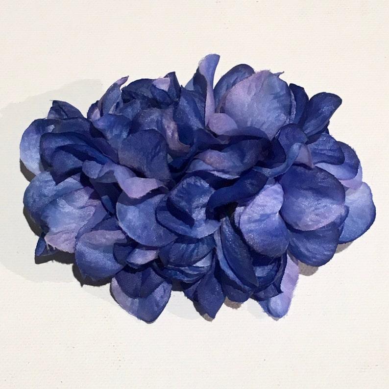 1940s Hair Snoods- Buy, Knit, Crochet or Sew a Snood     Dark Blue Delphinium Clip Hair Flower $8.58 AT vintagedancer.com