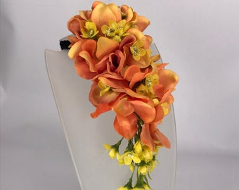 Vintage Style Orange Fiesta Orchid Bendy Cascade Head Piece Pin Up Hair Flower