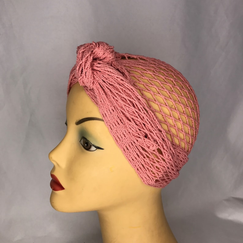 1940s Hair Snoods- Buy, Knit, Crochet or Sew a Snood     Pink 1940s Deadstock New Old Stock Pre Shaped Vintage Fishnet Hair Turban $21.46 AT vintagedancer.com