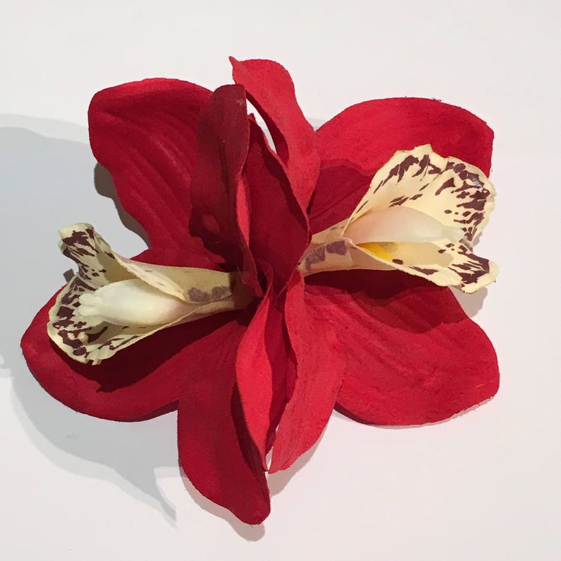1940s Hair Snoods- Buy, Knit, Crochet or Sew a Snood     Red Double Cymbidium Orchid Pin Up Hair Flower Clip $10.73 AT vintagedancer.com
