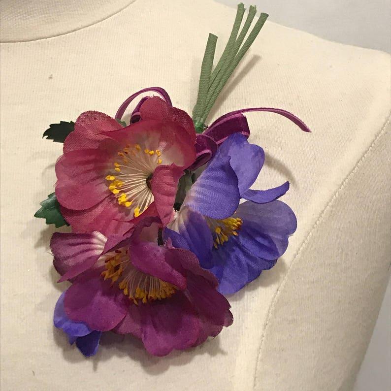 5f41434cb42 TRUE Vintage Millinery Purple Mauve Pink Silk Anemone Corsage   Etsy