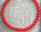 Coral Colored Czech Glass Choker Necklace- Renaissance, Baroque, Colonial Styles - Single Strand, Red or Orange