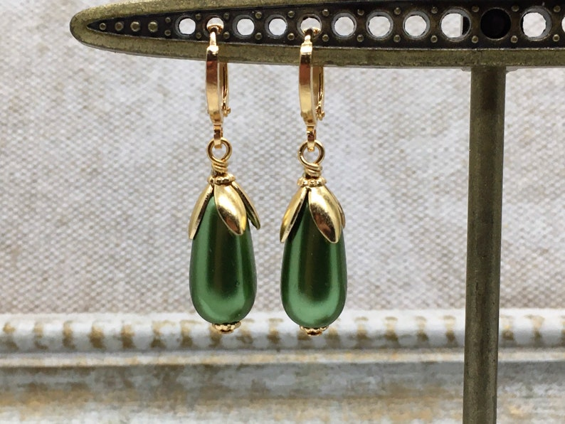 Green Glass Faux Pearl Drops