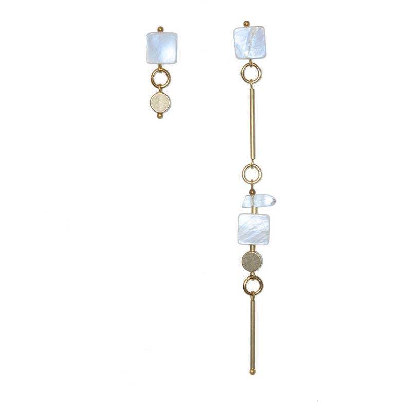 Asymmetric earrings with rock crystal and mother of Pearl Evi image 0