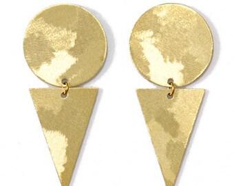 Geometric brass earrings-minimalist brass studs-Becky