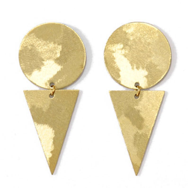 Geometric brass earrings-minimalist brass studs-Becky image 0