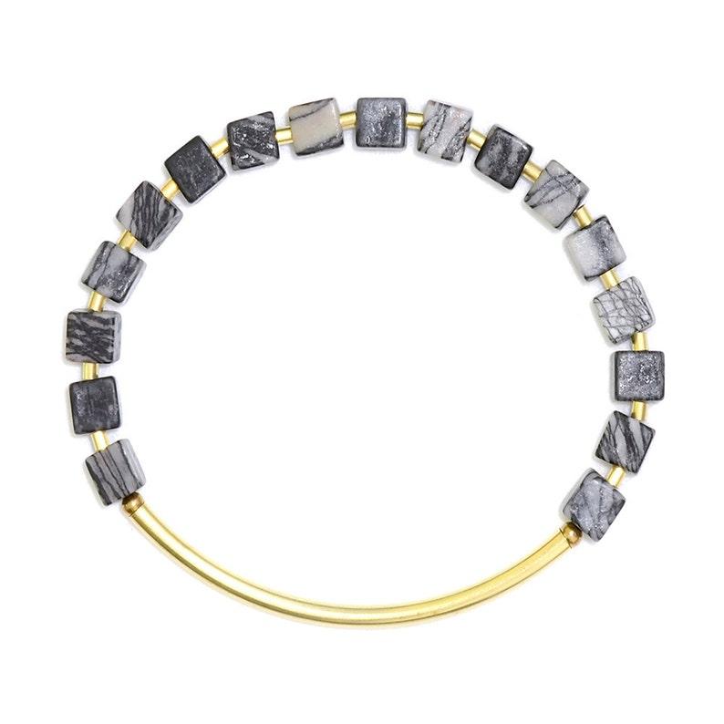 Cube bracelet with Picasso jasper-geometric bracelet-elastic image 0