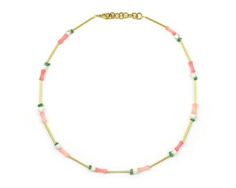 Brass necklace with malachite, turquoise and bamboo coral-liv