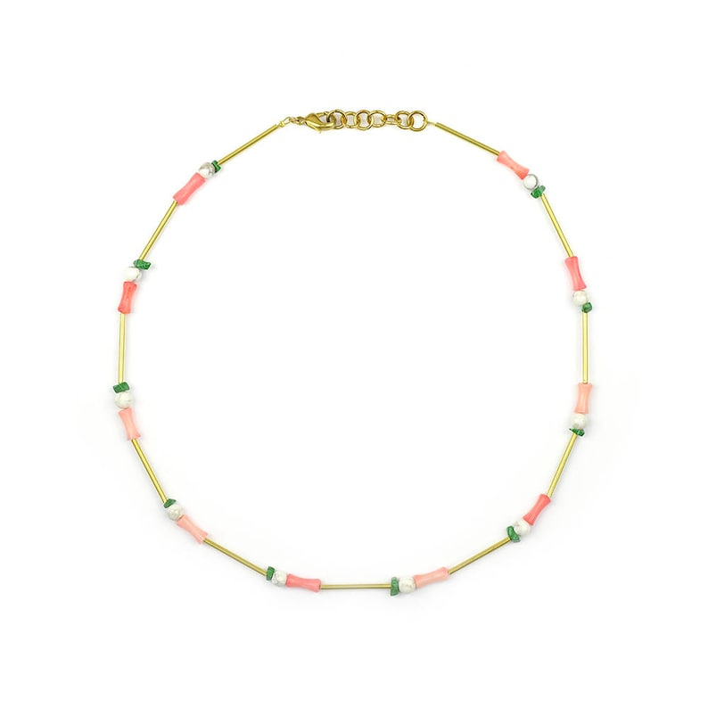 Brass necklace with malachite turquoise and bamboo coral-liv image 0