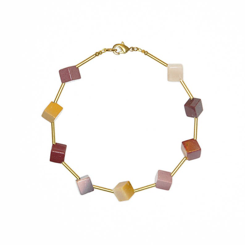 Gemstone bracelet with mookaite-cube bracelet-fox-Caramel image 0