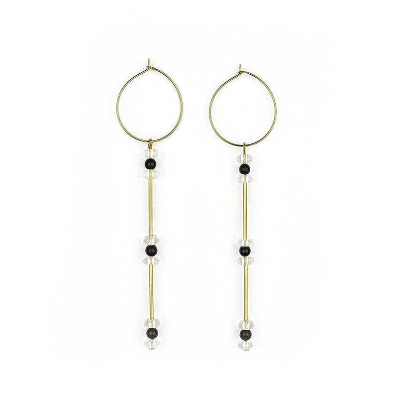 Brass hoops with Bergristall and Onyx gala image 1