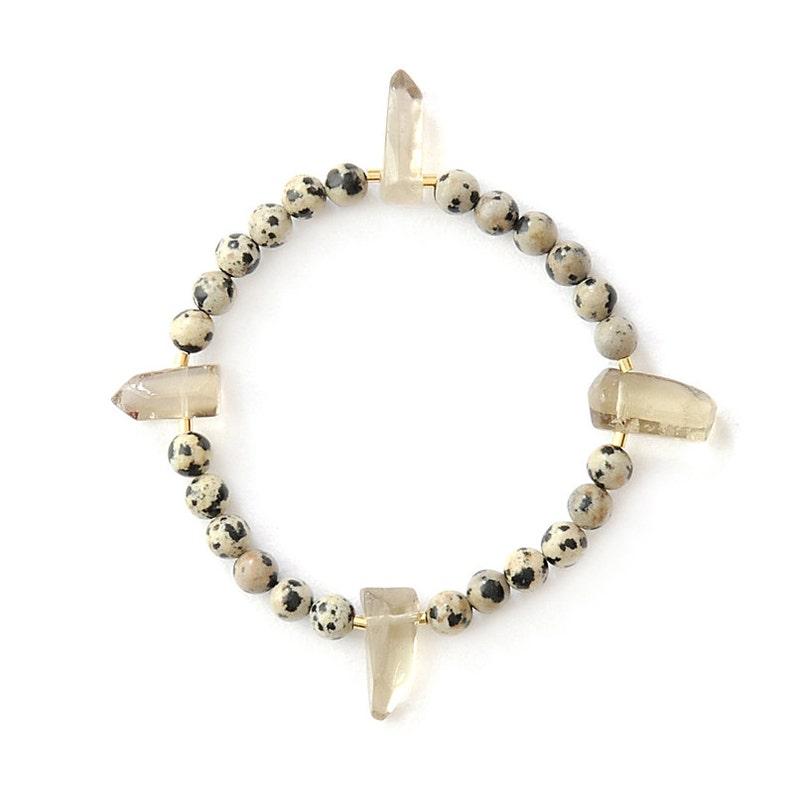 Dalmatian jasper bracelet with crystal spikes of smoky quartz image 1