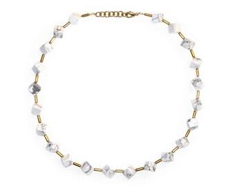 White Turquoise Cube Necklace-Helena-White