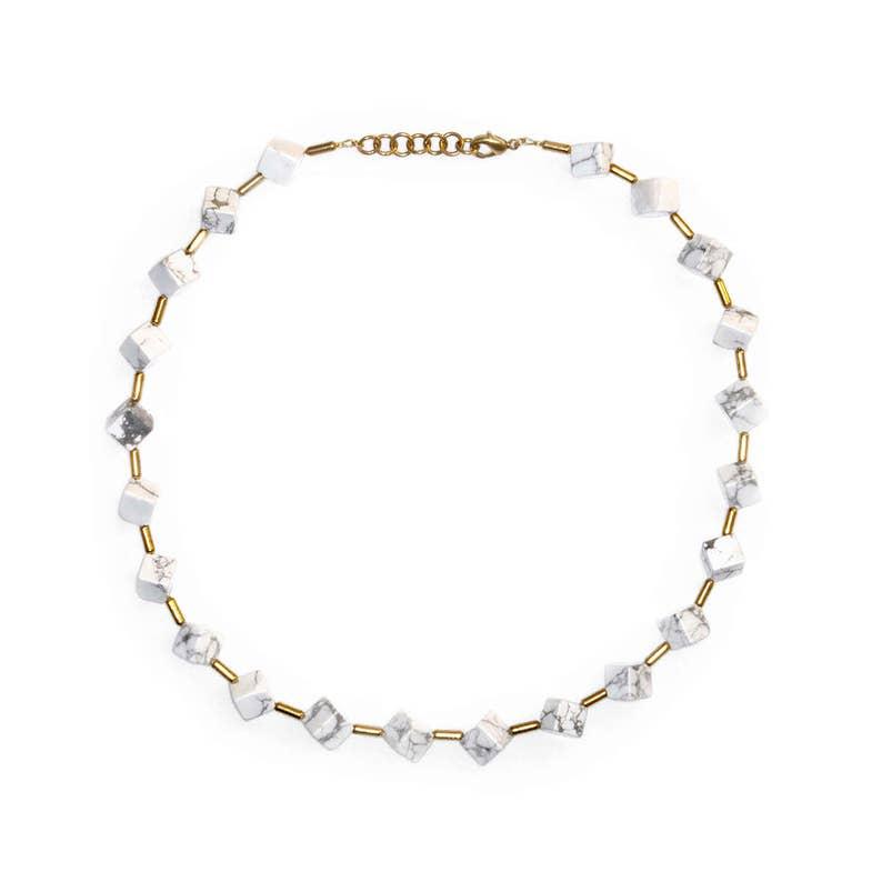 White Turquoise Cube Necklace-Helena-White image 0