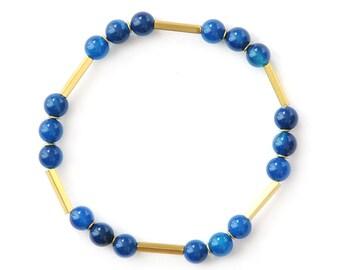 Elastic Pearl Bracelet, blue - Gemstone Bracelet with Agate and Brass - Natural Stone Bracelet - SUNNY
