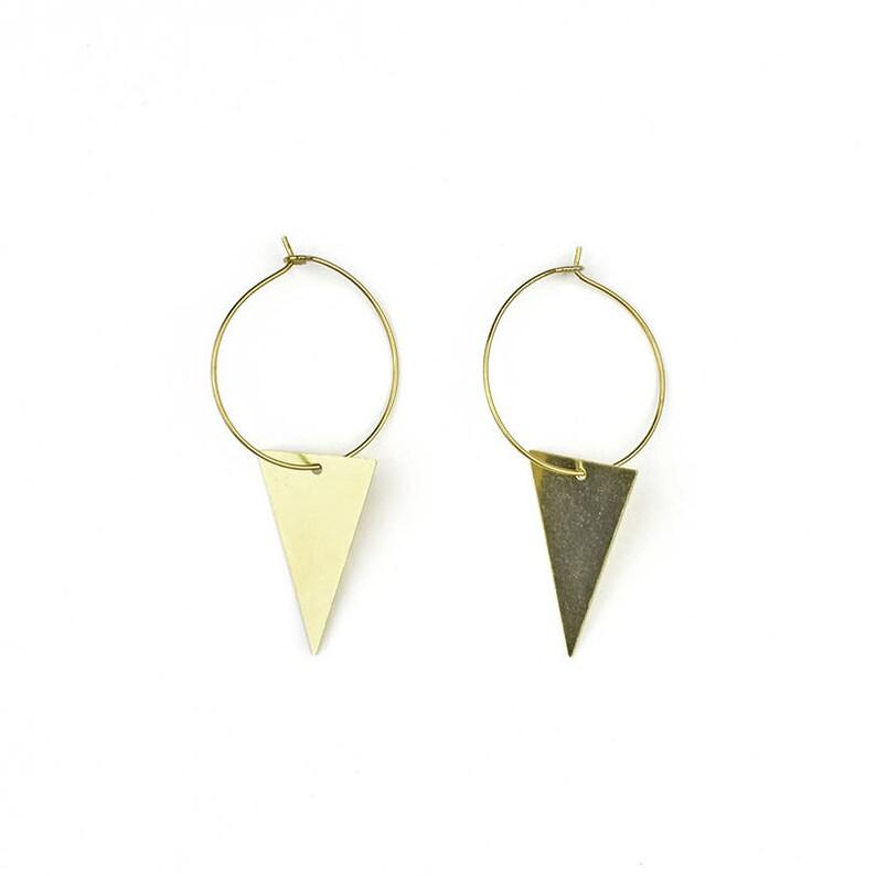 Brass hoop earrings with geometric pendant  VI image 0
