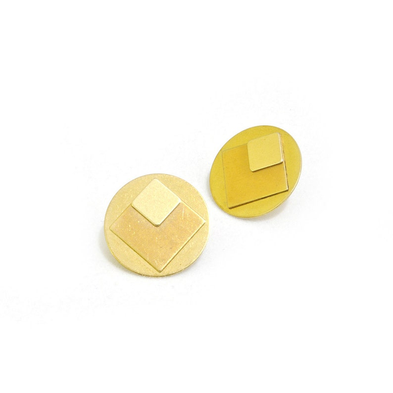Geometric earrings from brass circle stud earrings-ARA image 0