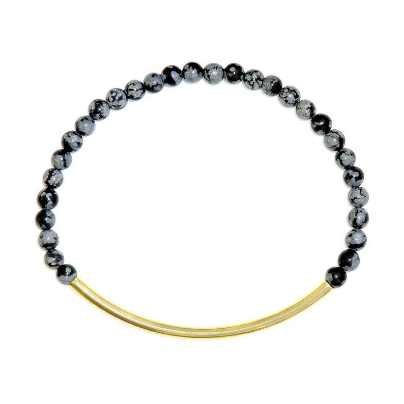 Elegant gemstone bracelet with snowflakes obsidian-grey image 0