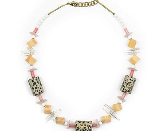 Necklace with Dalmatian Jasper, Rose Quartz, orange calcite, shell, bamboo coral and mountain Crystal INEX