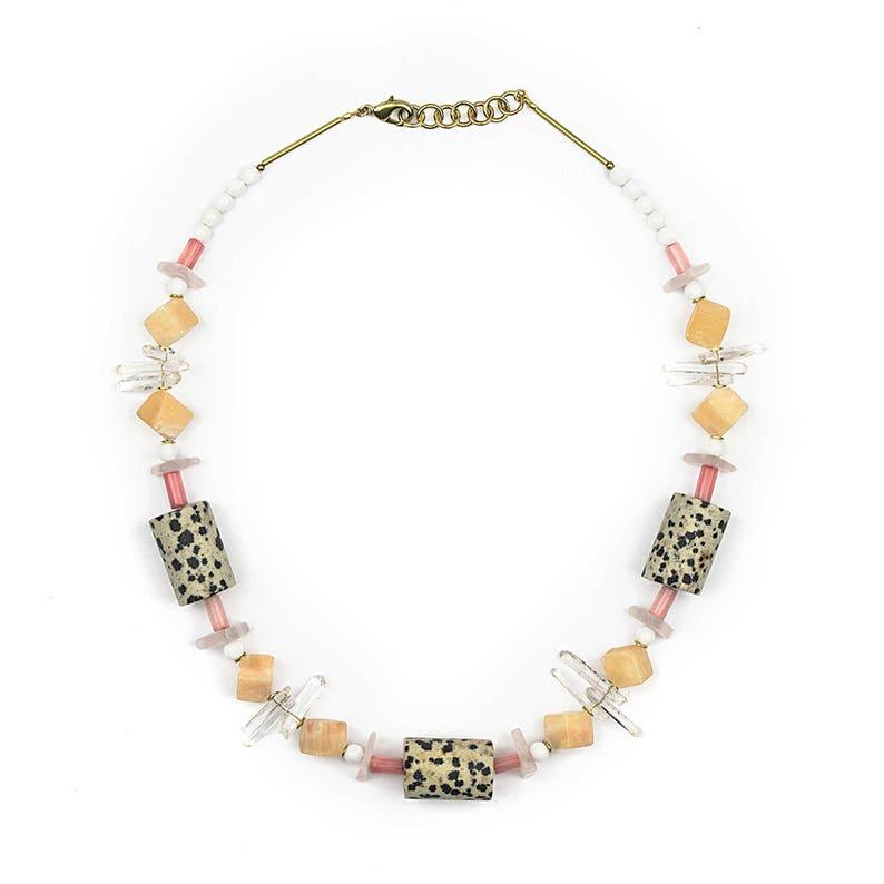Necklace with Dalmatian Jasper Rose Quartz orange calcite image 1