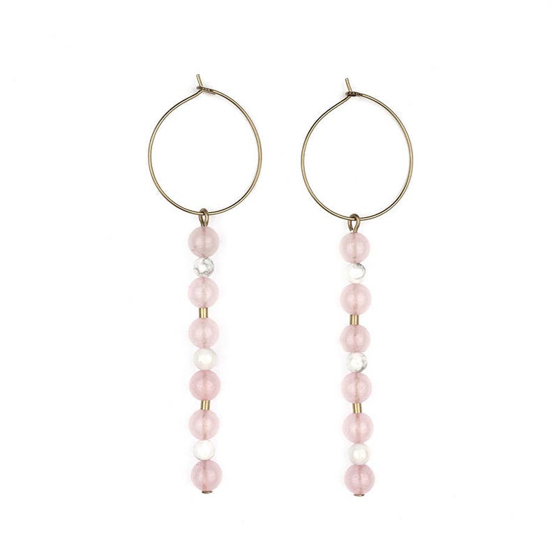 Brass hoop earrings with rose quartz and turquoise-coco image 0