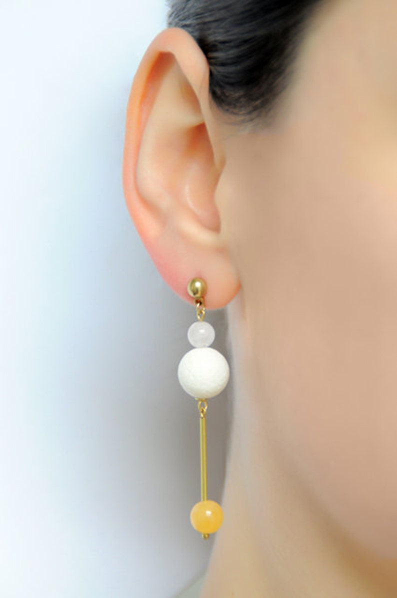 Edelstein earrings with rose quartz foam coral and oranges image 0
