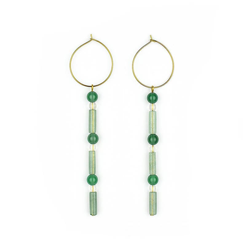 Gemstone hoops with Aventurine agate and mountain image 0