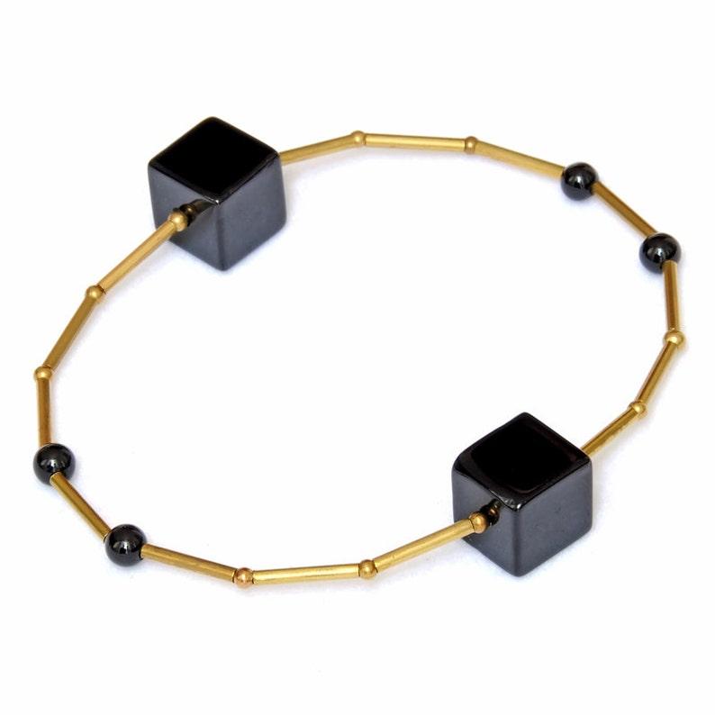 Black gemstone bracelet with onyx-minimalist design-geometric image 0