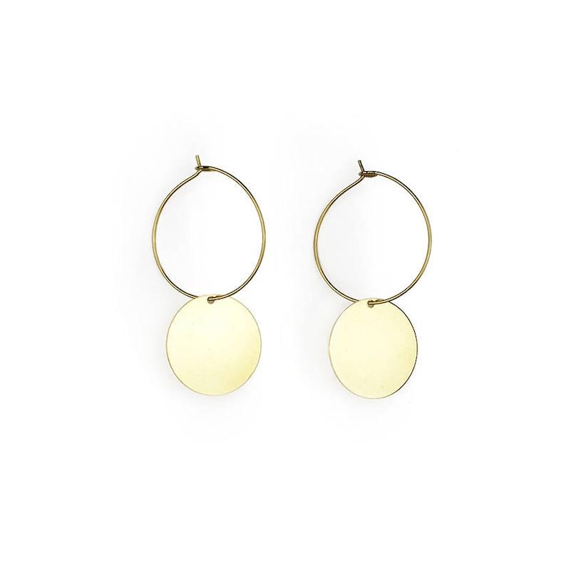 Brass hoop earrings with geometric pendant-Jo image 0
