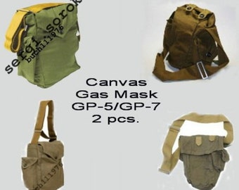 74fdbc8a1bdc Soviet Russian Gp-5 GP-7 Gas Mask Canvas Bag Military Army Indiana Jones 2  pcs