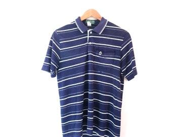 1d90e8039d Vintage 80's Blue & White Striped Penguin Polo Shirt Size Men's Medium