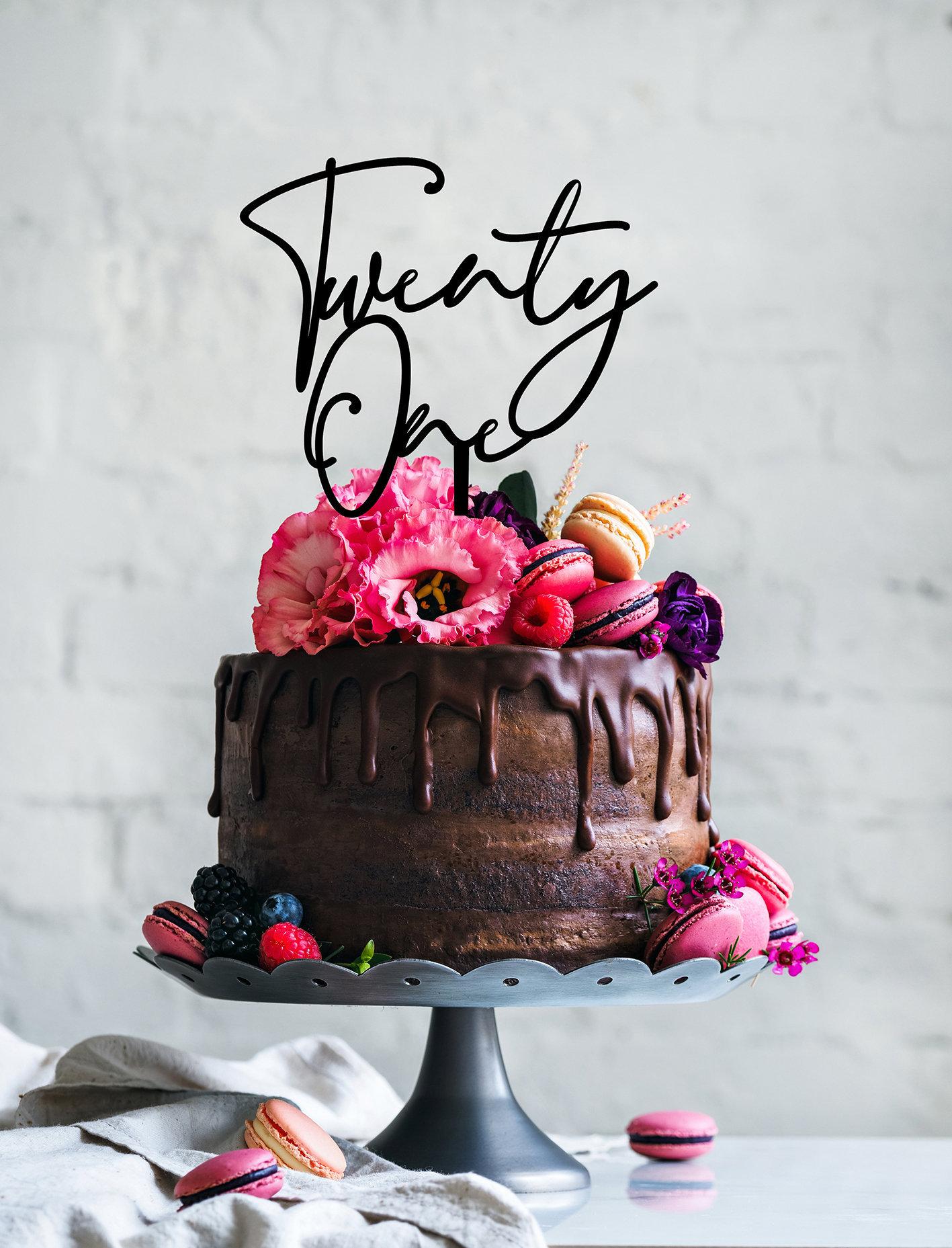 Twenty One cake topper | Custom cake topper | Birthday decor | Twenty One  birthday Cake topper | Smith Street font