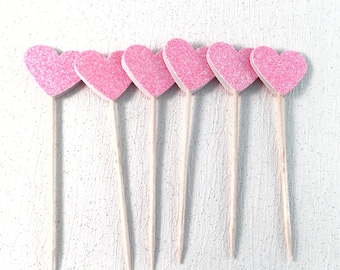 Set of 6, cupcake toppers, cake toppers, pink heart cake toppers, pink cupcake toppers, party decorations, baby shower decorations, sparkly