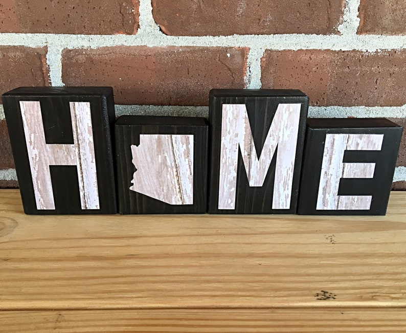 Arizona Home Decor Sign Rustic Wooden Letter