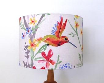 Hummingbird Lampshade    Floral Lamp Shade   Handmade in Australia