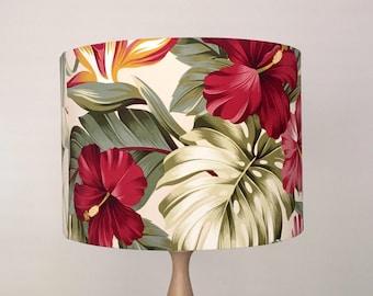Hibiscus Lampshade   Tropical Lamp Shade   Handmade in Australia