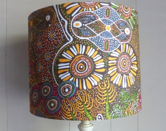 Bush Tucker After Rain Lampshade   Aboriginal Art Fabric Lamp Shade   Handmade in Australia