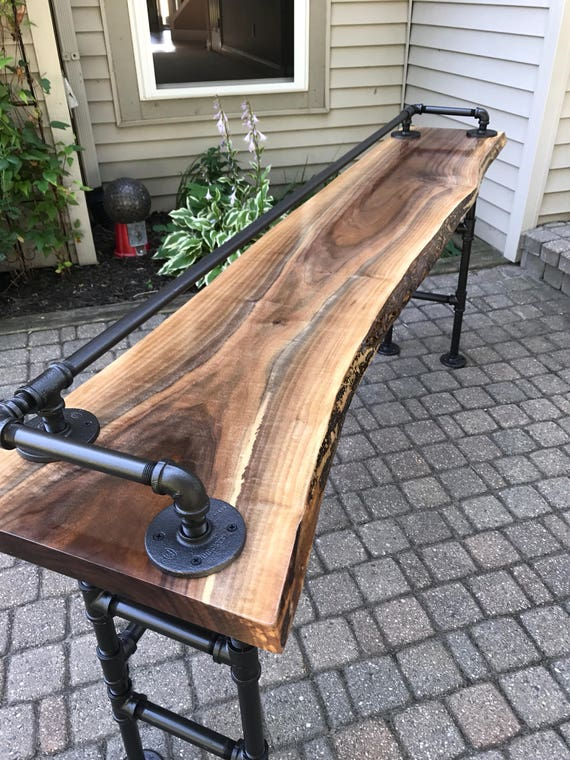 Live Edge Black Walnut Sofa Bar Table Etsy