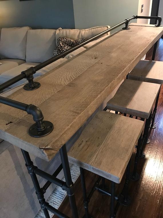 Rustic Gray Reclaimed Barn Wood Sofa Bar Table 7 Foot | Etsy