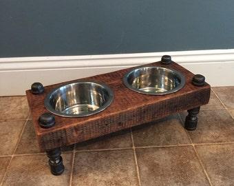 Reclaimed Barn Wood Raised Dog Feeder