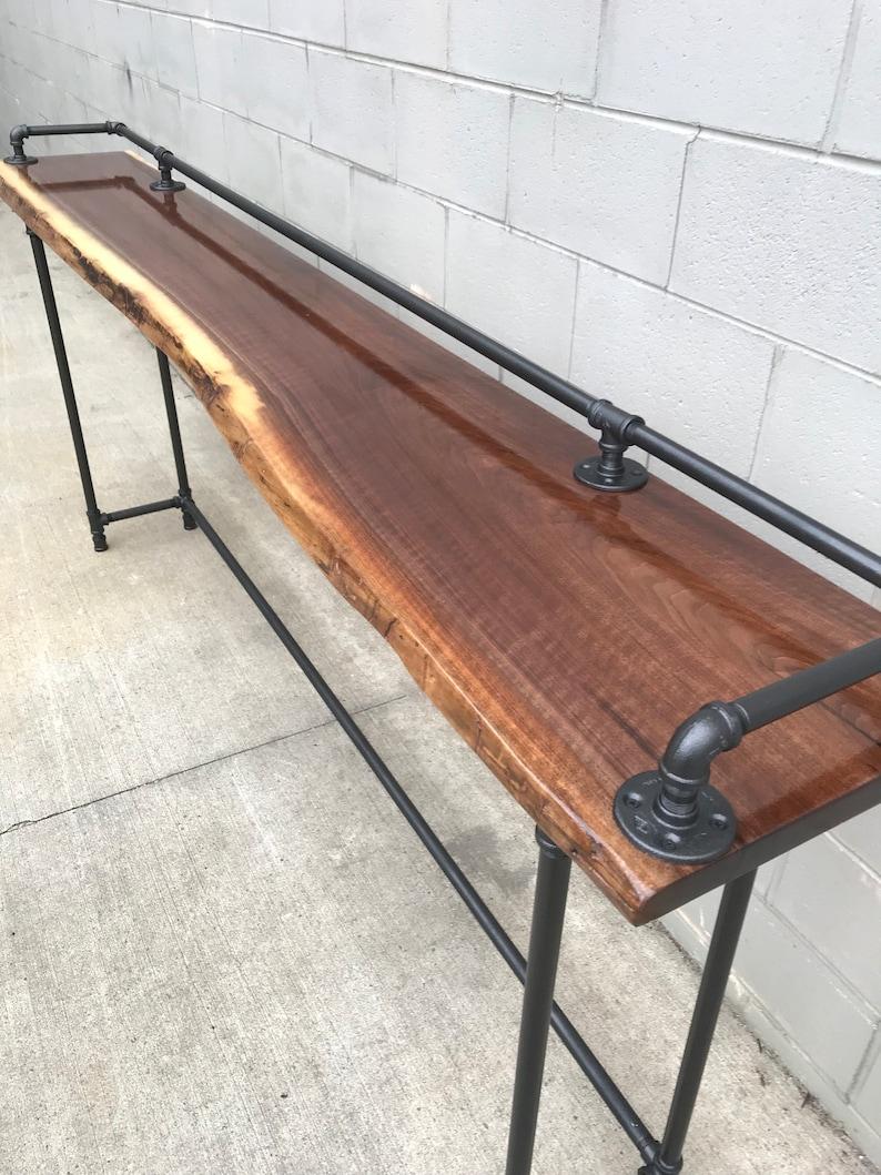 Live Edge Black Walnut 6 foot Sofa Bar Table